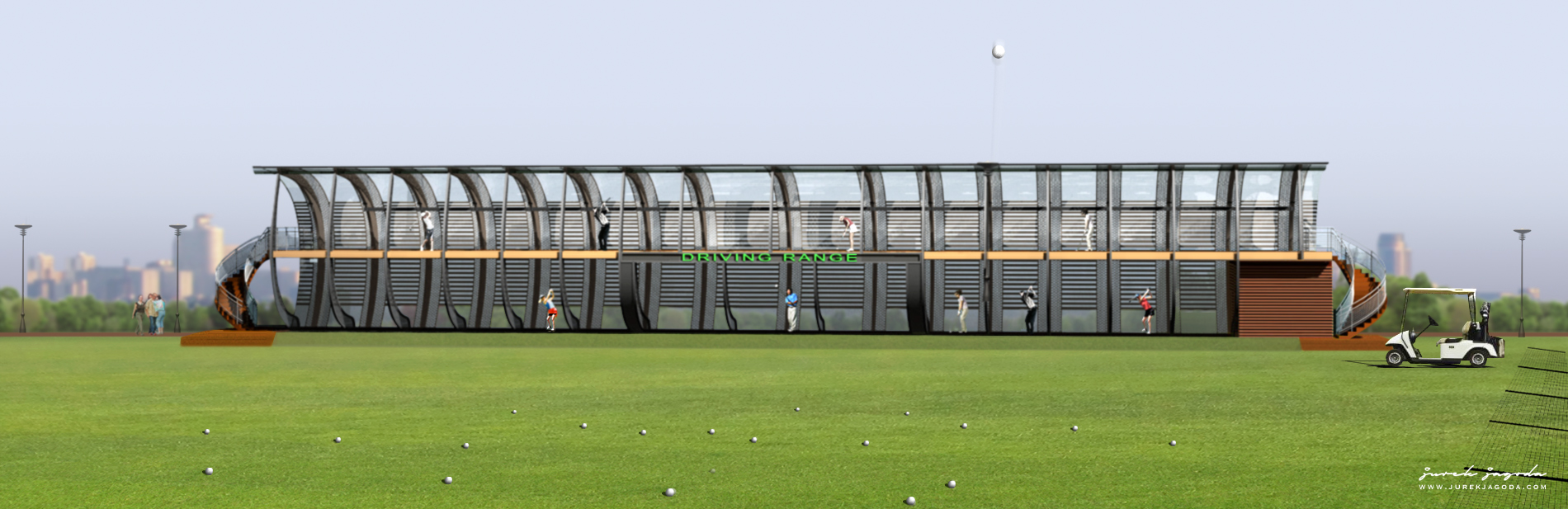 Two Storey Driving Range. Night view.